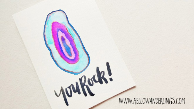 You Rock brush calligraphy agate watercolor hello wanderlings