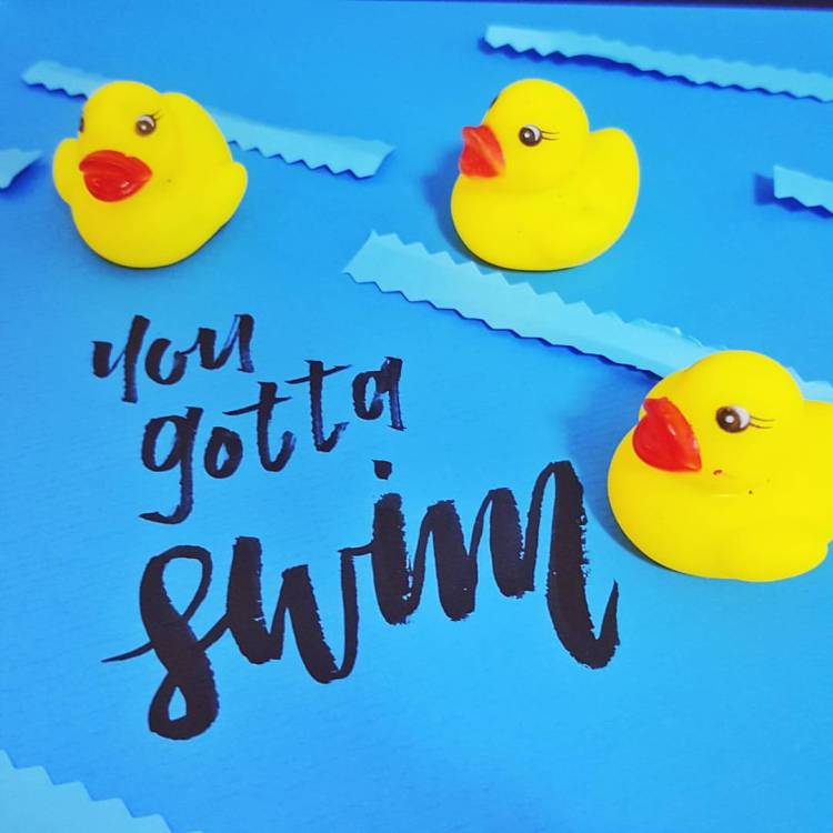 You Gotta Swim - Brush Calligraphy by Elle @Hello Wanderlings - Rubber Duck